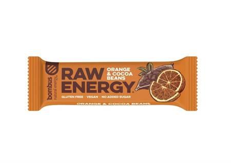 Baton RAW ENERGY pomarańcz-ziarna kakao BEZGL. 50