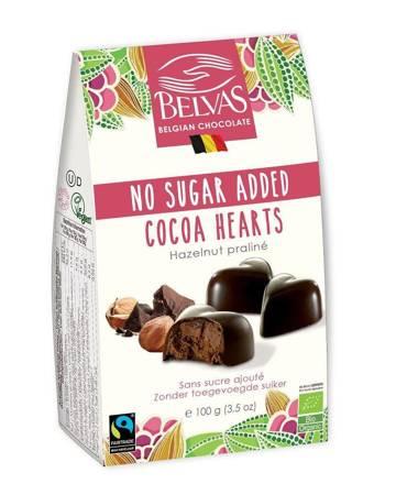 Belgijskie czekoladki serca bez dodatku cukrów bezglutenowe BIO 100 g