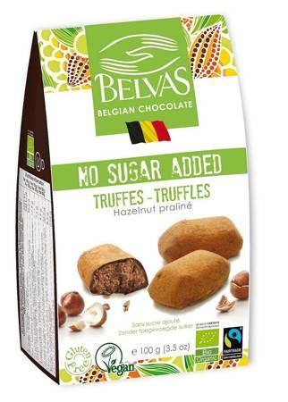 Belgijskie czekoladki trufle z orzechami laskowymi bez dodatku cukrów bezglutenowe BIO 100 g